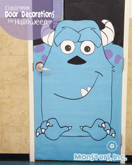 Halloween Classroom Door Decorations {Monsters, Inc.} #halloweenclassroomdoor Fun classroom door decorations for Halloween. This monstrously fun door is transformed into Sully from Monsters, Inc. Download printables to make it, too! #halloweenclassroomdoor