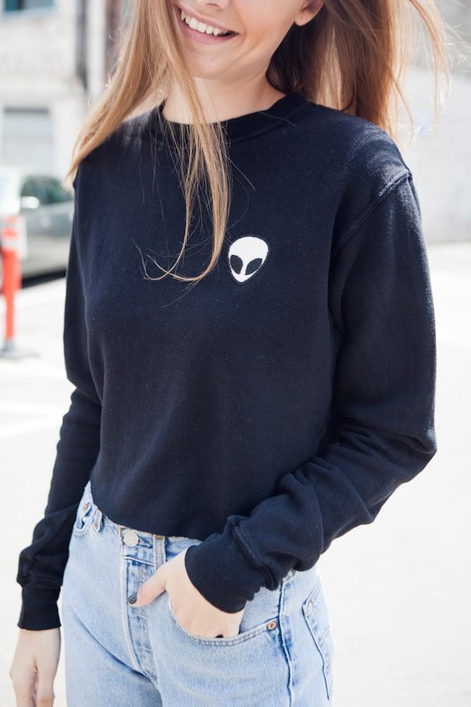 Alien Pattern Oversize Warm Crop Sweatshirt is part of Clothes Grunge Brandy Melville -  BLACK
