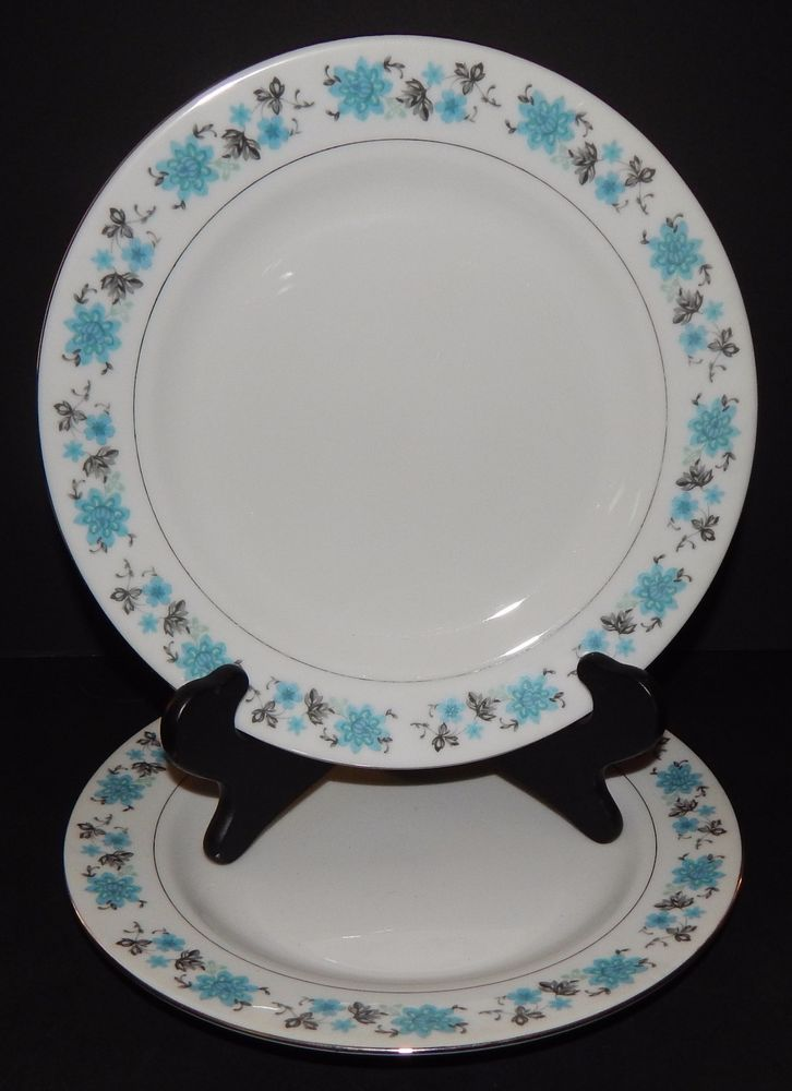 Fine China Patterns details about 2 vintage dinner plates fine china pattern blue grey