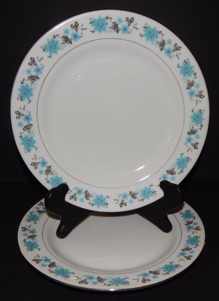 Fine China Patterns details about 2 vintage dinner plates fine china pattern blue grey