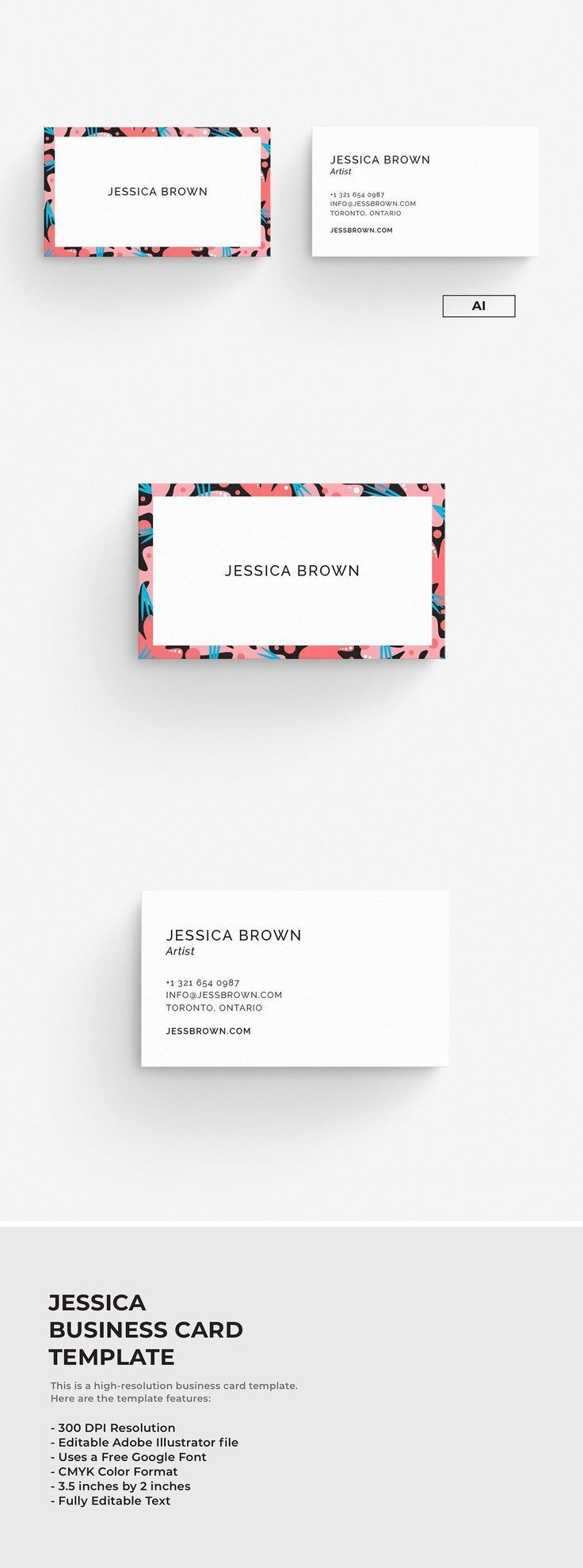 Illustrator Business Card Jessica Business Card Template With Adobe Illustrato In 2020 Graphic Design Business Card Business Card Graphic Illustration Business Cards