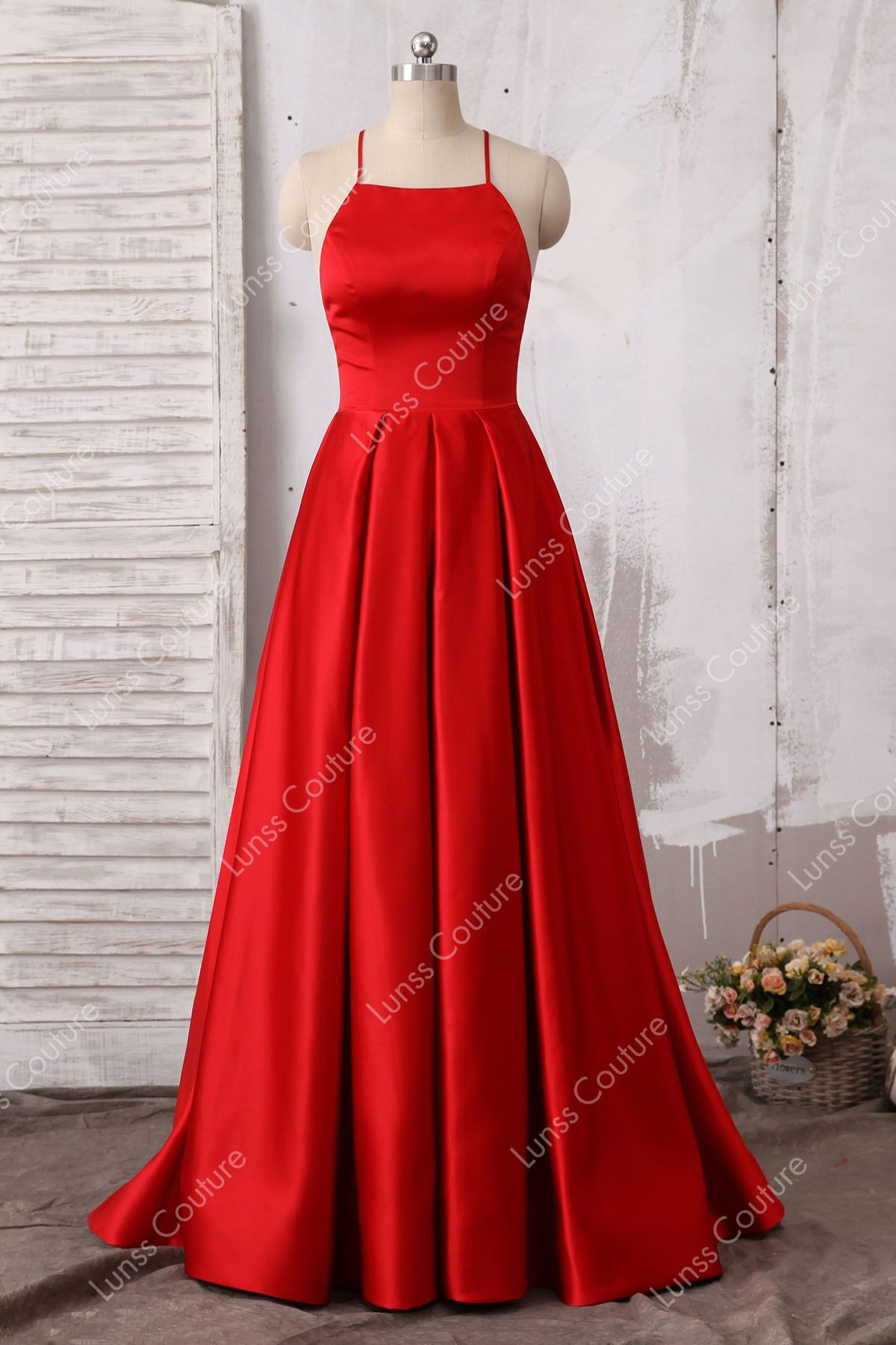 416adc79e1 Elegant Red A-line Satin Sleeveless Spaghetti Strap Floor Length Evening Prom  Dress