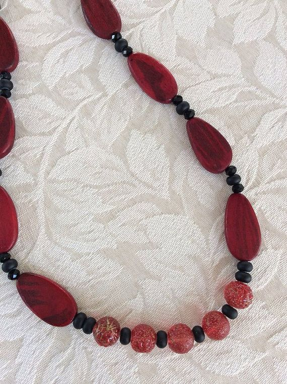 Scarlet and Black Wood and Faceted Glass Bead by LilacLaneJewelry