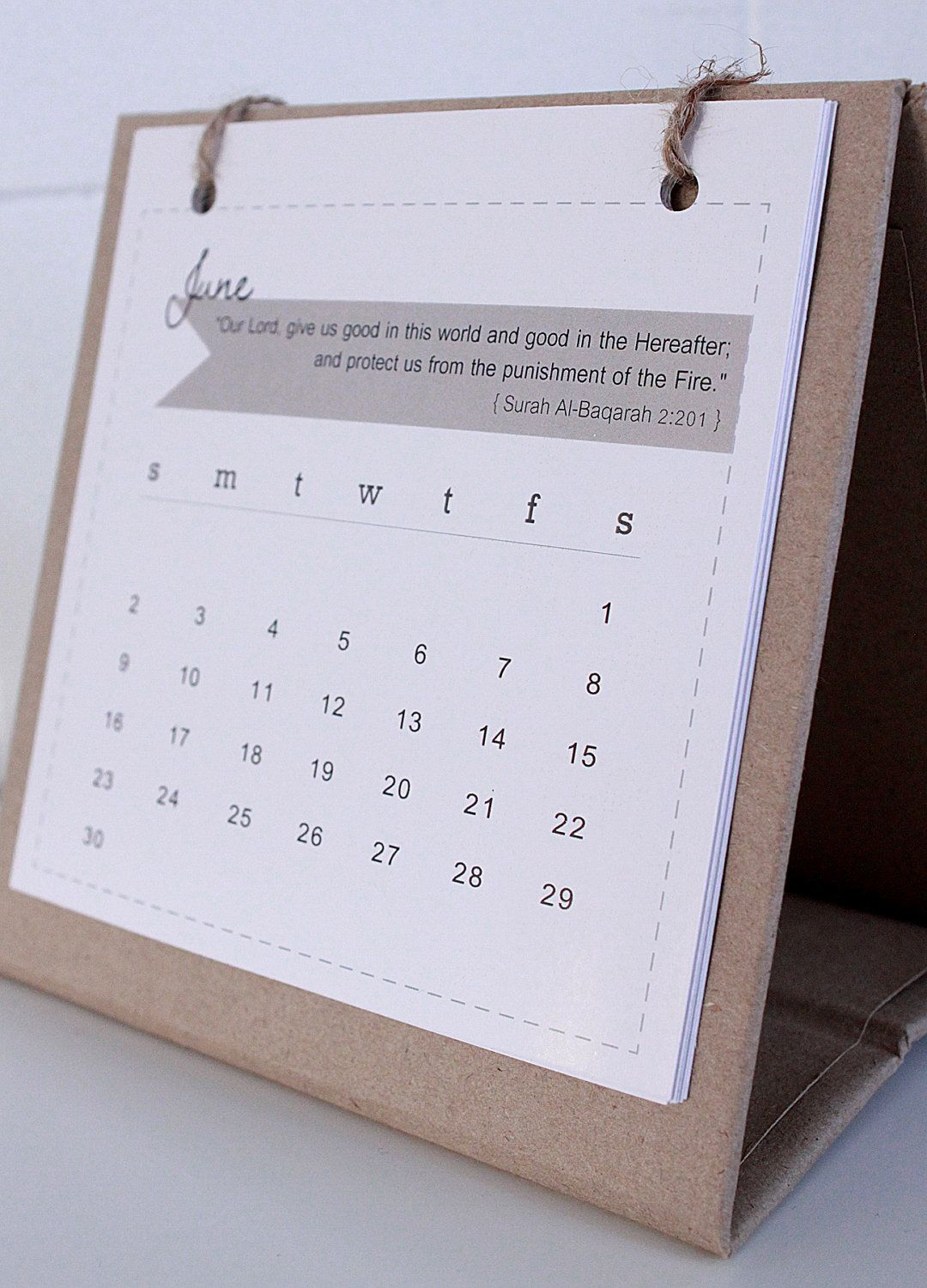 2013 Mini Desk Calendar With Stand On Natural Recycle Brown Paper