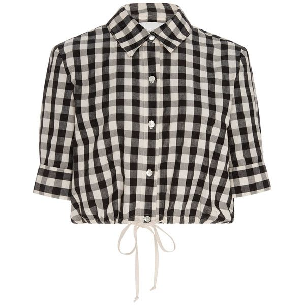 Solid & Striped Cotton Gingham Cropped Button Up Shirt ($150 ...