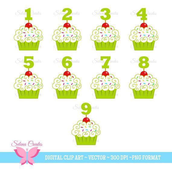 Cupcake Clipart Digital Clipart Green Cupcakes by SelenaCreates