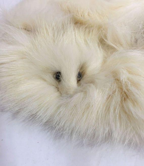 luxurious white rabbit fur collar ermine heads by secondseed