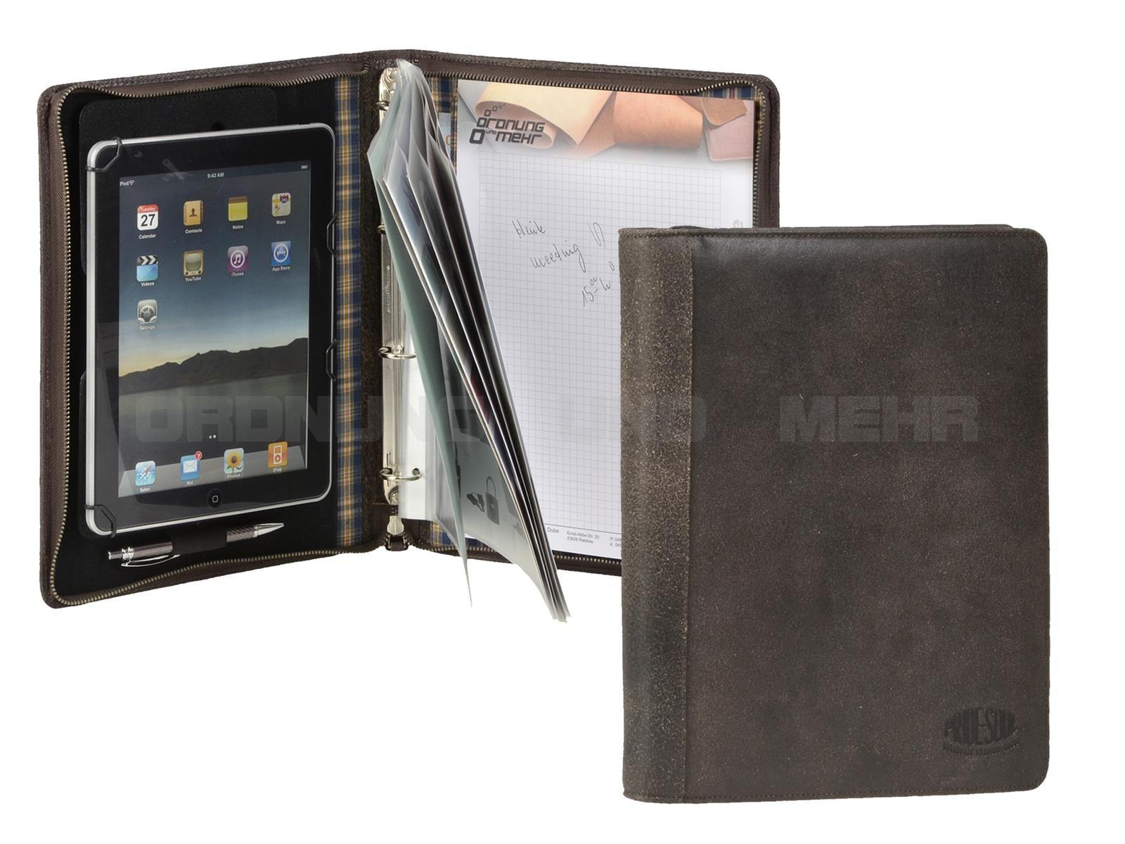 85204b6ad2306 PRIDE   SOUL - Leder A4 Orgamappe universelle Tablet-Mappe Ringbuchmappe  Schreibmappe - braun