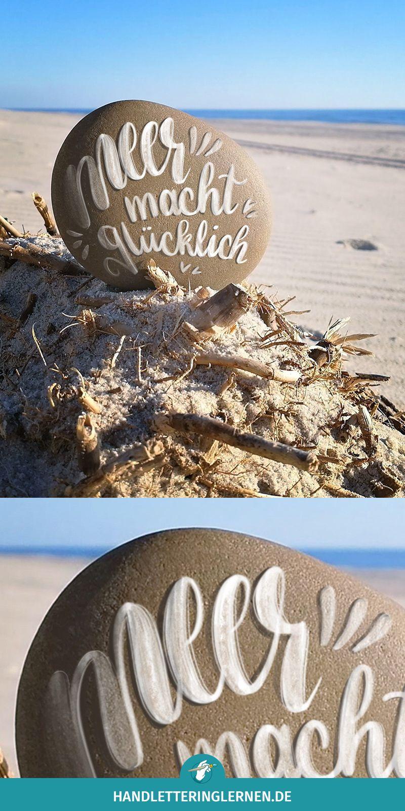 Meer macht glücklich #steinebemalenvorlagen