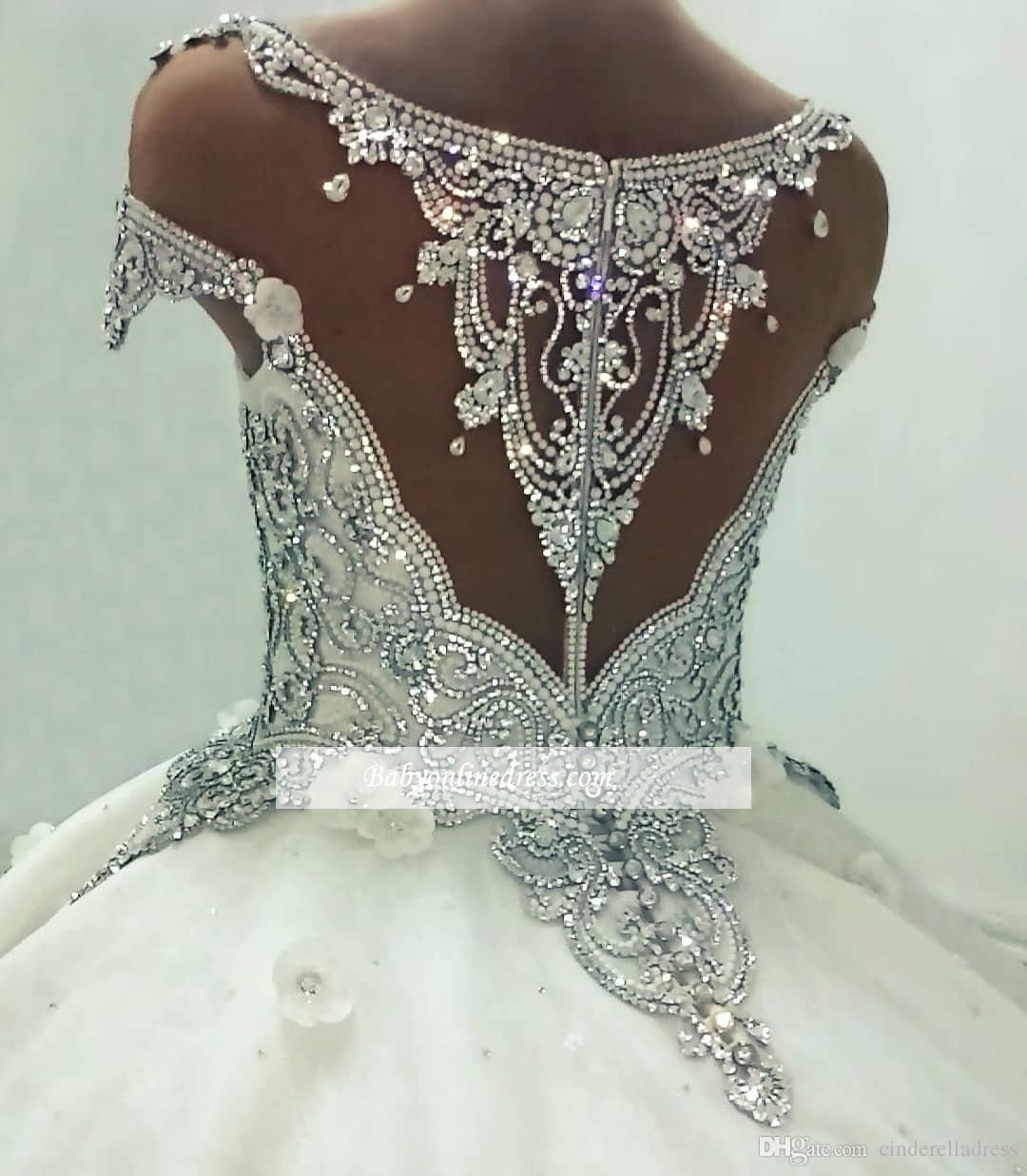 Luxury Real Images Cap Sleeves Ball Gown Wedding Dresses 2019 Shiny Crystals Sparkly Sequin Rhinesto Short Bridal Gown Bridal Ball Gown Ball Gown Wedding Dress [ 1236 x 1080 Pixel ]