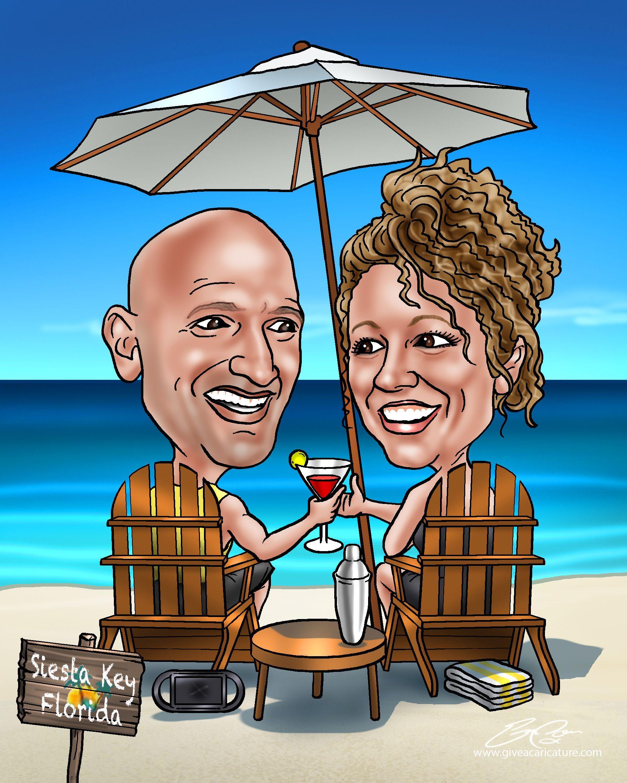 Custom 25th anniversary gift caricature 25th anniversary