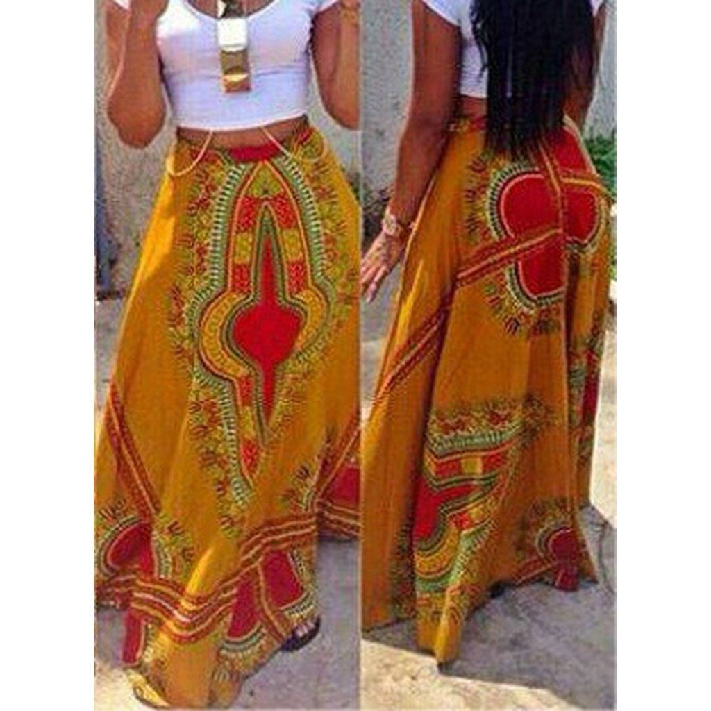 3bc8dbddd361 Women Dashiki African Print High Waisted Maxi Skirt Long Casual Tribal  Floral Full Swing Dashiki Skirts Ankara Fashion