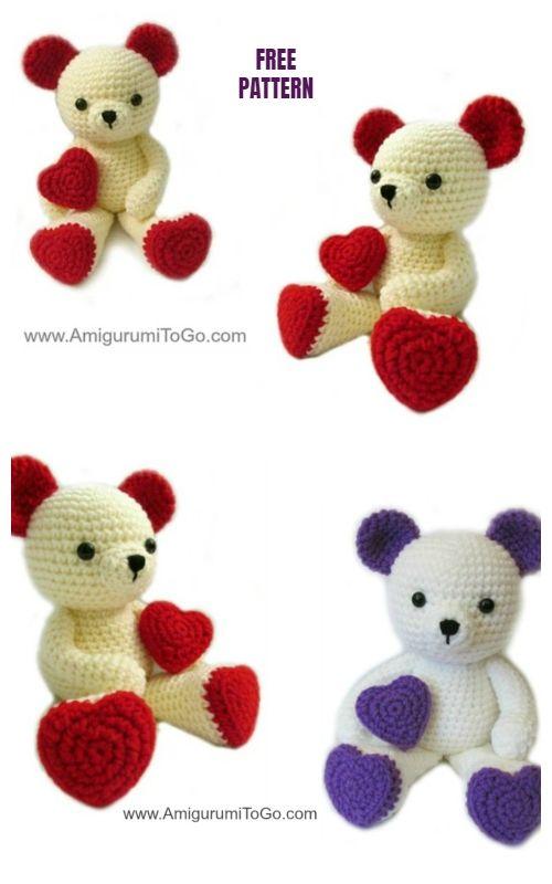 Valentine Heart Teddy Bear Amigurumi Free Crochet Pattern #crochetbearpatterns