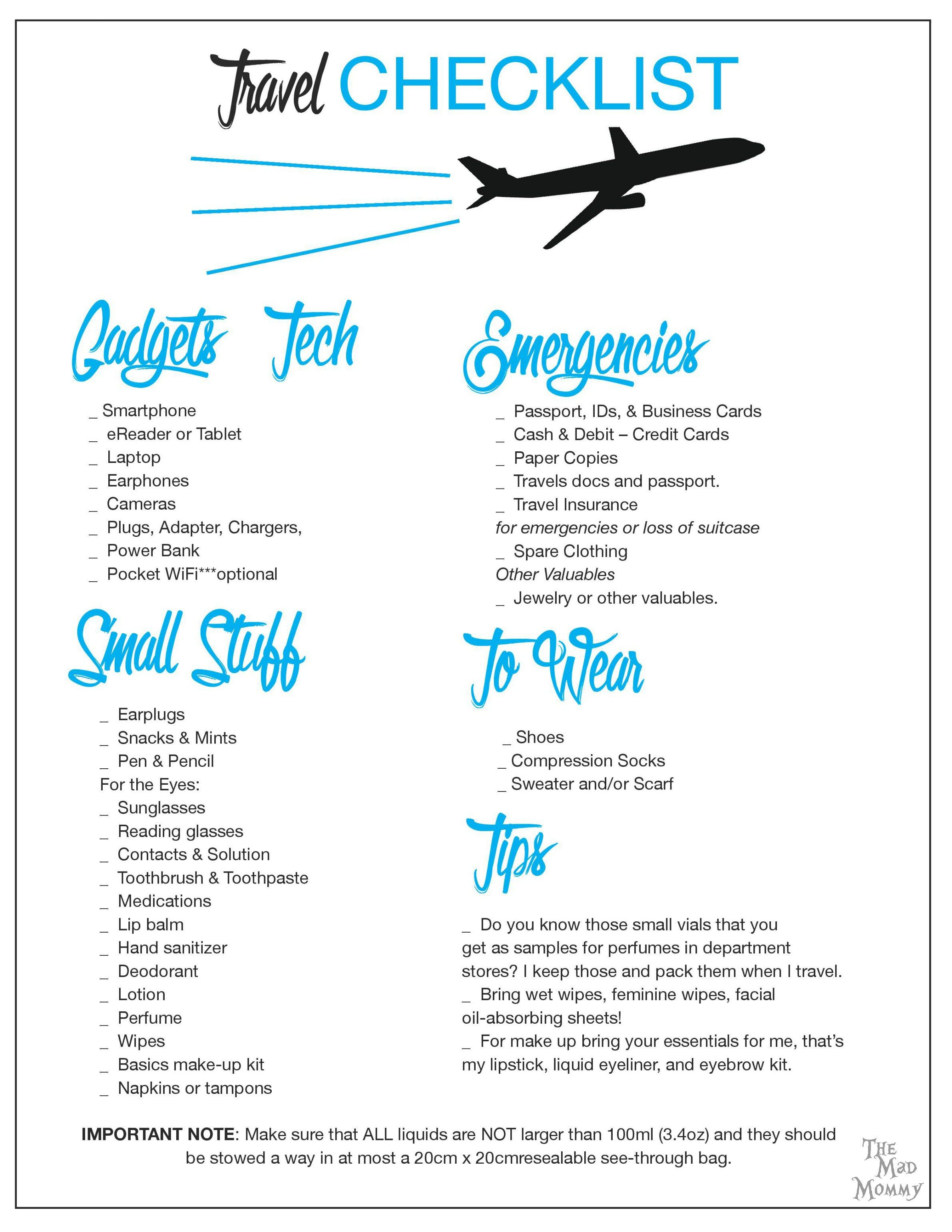 One Bag Travel Checklist Printable Travel Checklist Travel
