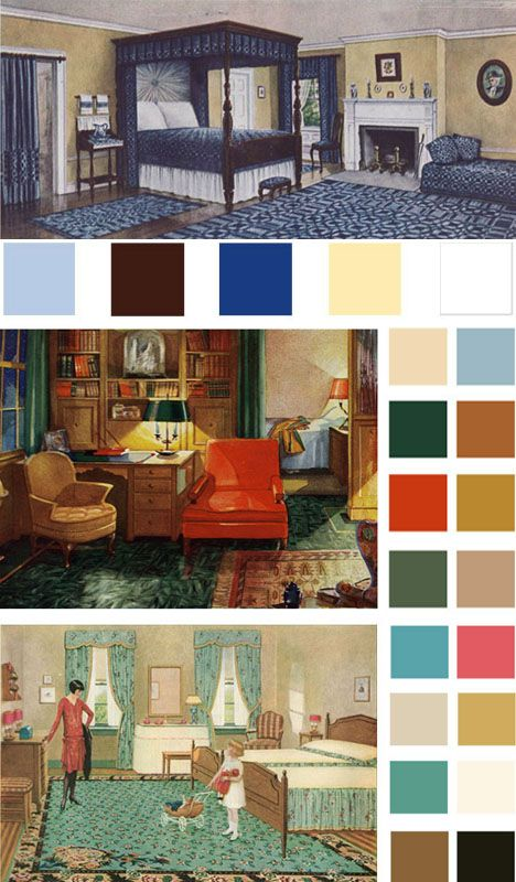 Color pallettes based on early 1900s vintage bedrooms. | Interior ...