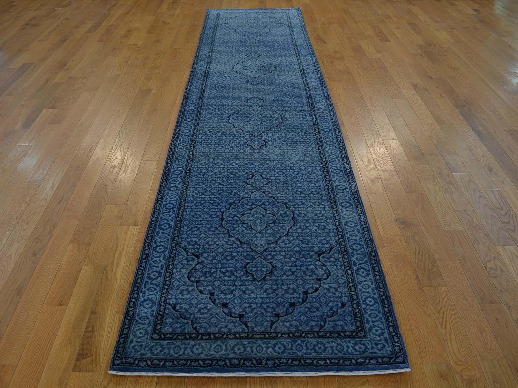 3 X 12 Runner Tone On Wool And Silk Tabriz Handmade Oriental