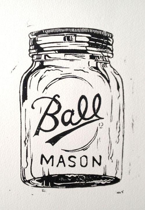 Ball Typeface On Old Jars A4 Lino Print Ball Mason Jar