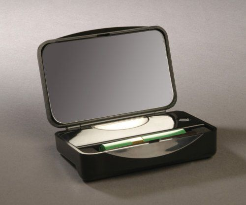 Led Lighted 10x Mirror Compact With Stainless Steel