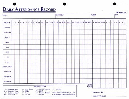 Adams Daily Attendance Record, 8.5 x 11 Inches, 3-Hole Pu