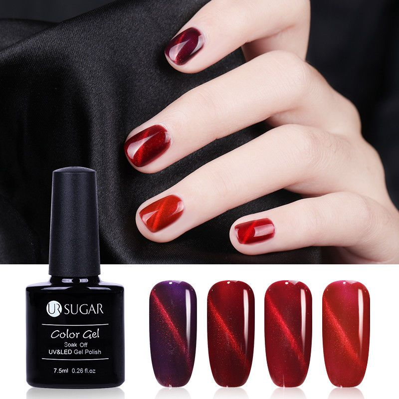 7.5Ml Red Soak Off Uv Flame Magnet Cat Eye Gel Polish Glitters Gel ...