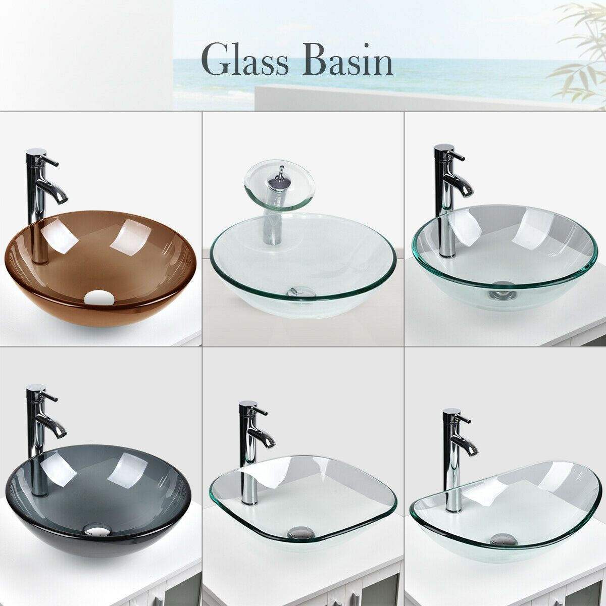 Bathroom Tempered Clear Glass Vessel Sink Bath Basin Bowl Faucet Drain Combo Us Bathroom Sinks Ideas With Images Glass Vessel Sinks Bathroom Sink Vessel Sink Bathroom