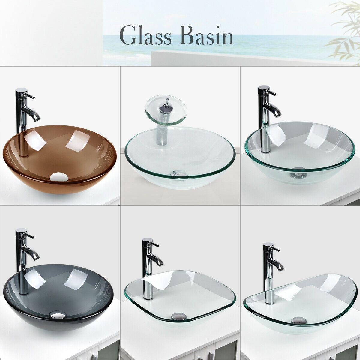 Bathroom Tempered Clear Glass Vessel Sink Bath Basin Bowl Faucet