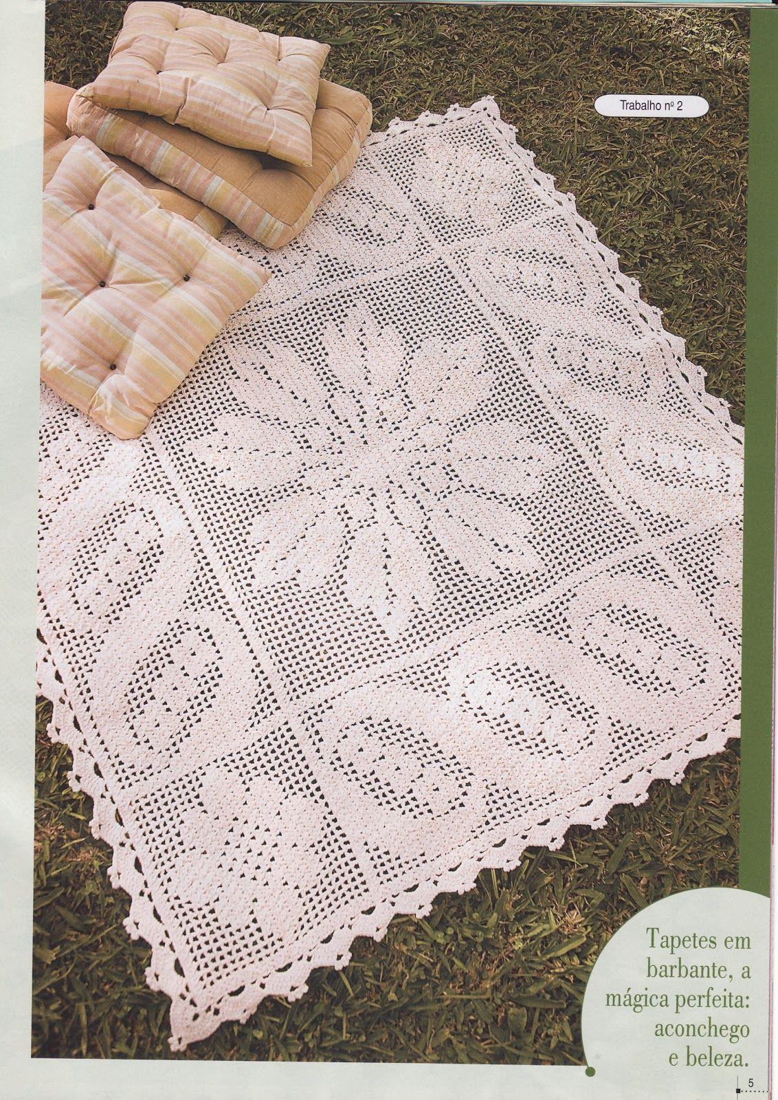 Feitos Por Mim By Lu Rontani Tapete Flor Em Croch Com Gr Fico Para  -> Tapetes De Croche Para Sala