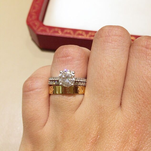 engagement ring with cartier love ring as wedding band wedding ring set cartier love rose gold band