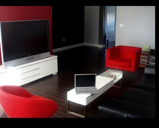 Red, black, and white living room idea | Black, white living ...