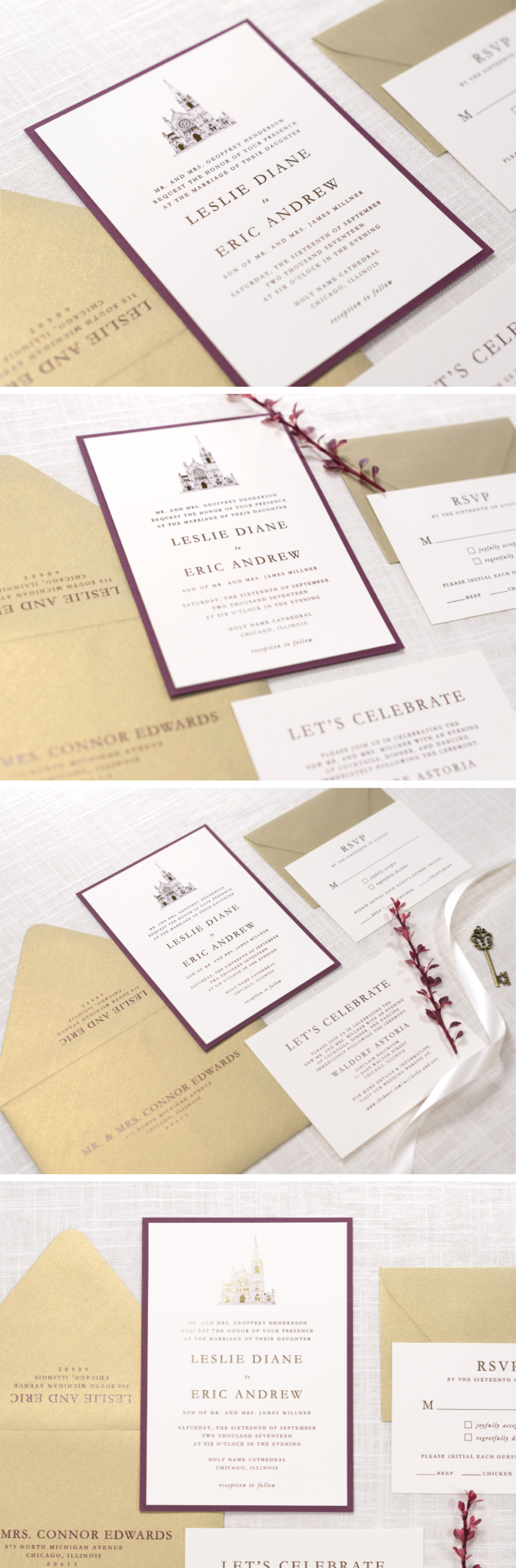Ivory Gold And Burgundy Wine Wedding Invitation With Foil