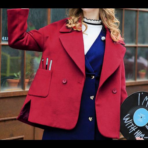 جاكيتات نسائية شتوية بجيوب عريضة نقشت أعلاها برسمة أدوات الرسم جاكيتات رسمية بأزرة أمامية وياقة عريضة جاكي Formal Jacket Women S Blazer Fashion