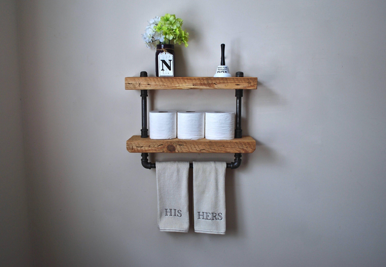 awesome floating bathroom shelves towel | 2-Tier Industrial Bathroom Shelf with Towel Bar | Awesome ...