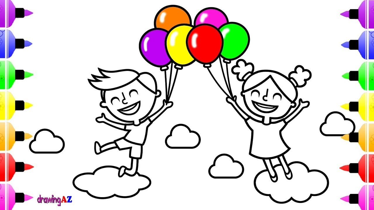 Boy And Girl Play With Balloons Coloring Pages Kids Drawing