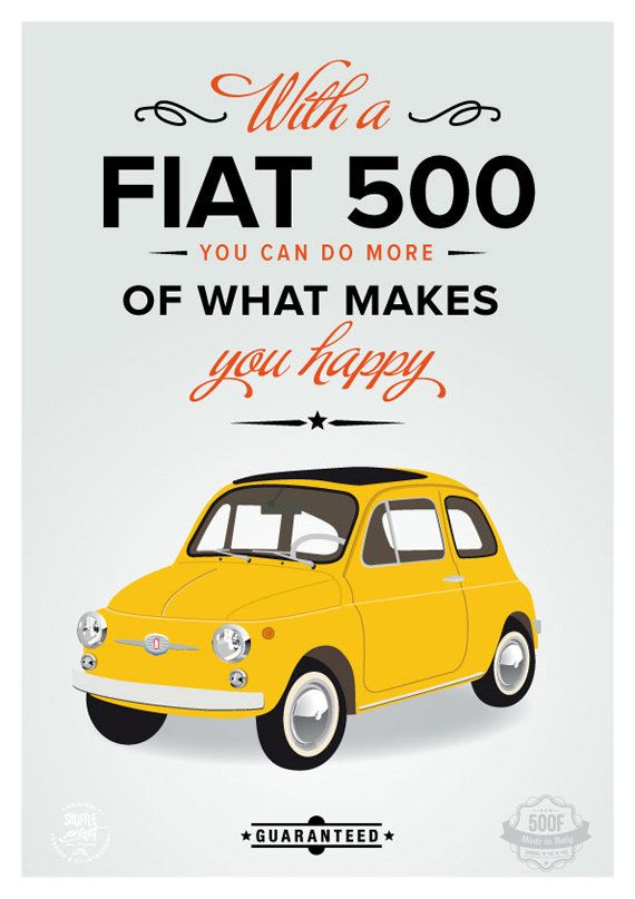 fiat 500 poster italian art print poster italy par shuffleprints illustrations pinterest. Black Bedroom Furniture Sets. Home Design Ideas