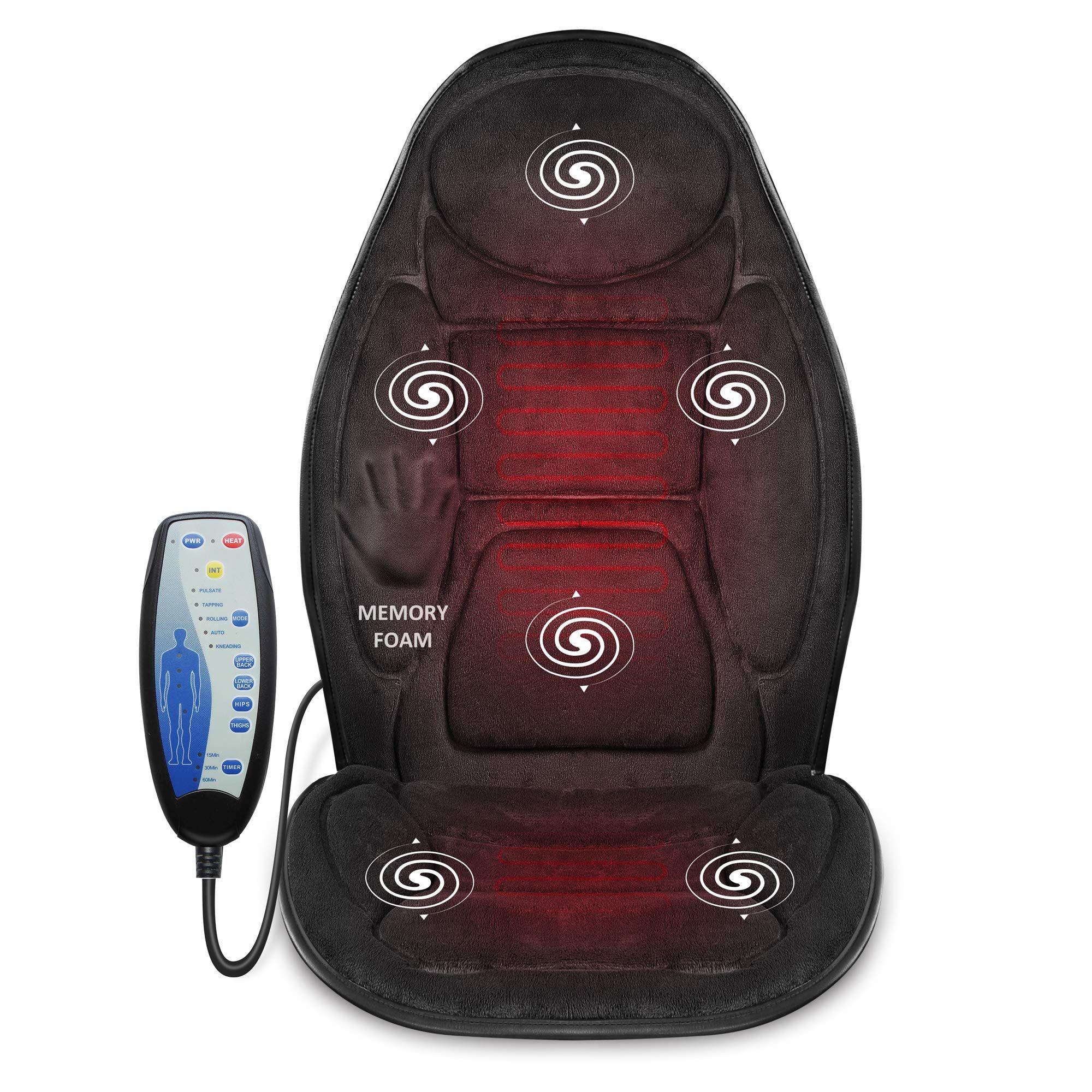 Snailax Memory Foam Massage Seat Cushion Back Massager With Heat 6 Vibration Massage Nodes Amp 3 Heating Pad Massag Massage Chair Chair Pads Seat Cushions