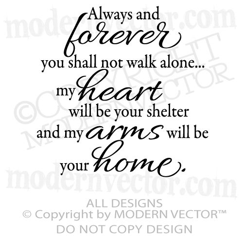 Always And Forever Quote Vinyl Wall Decal Living Room Home Decor