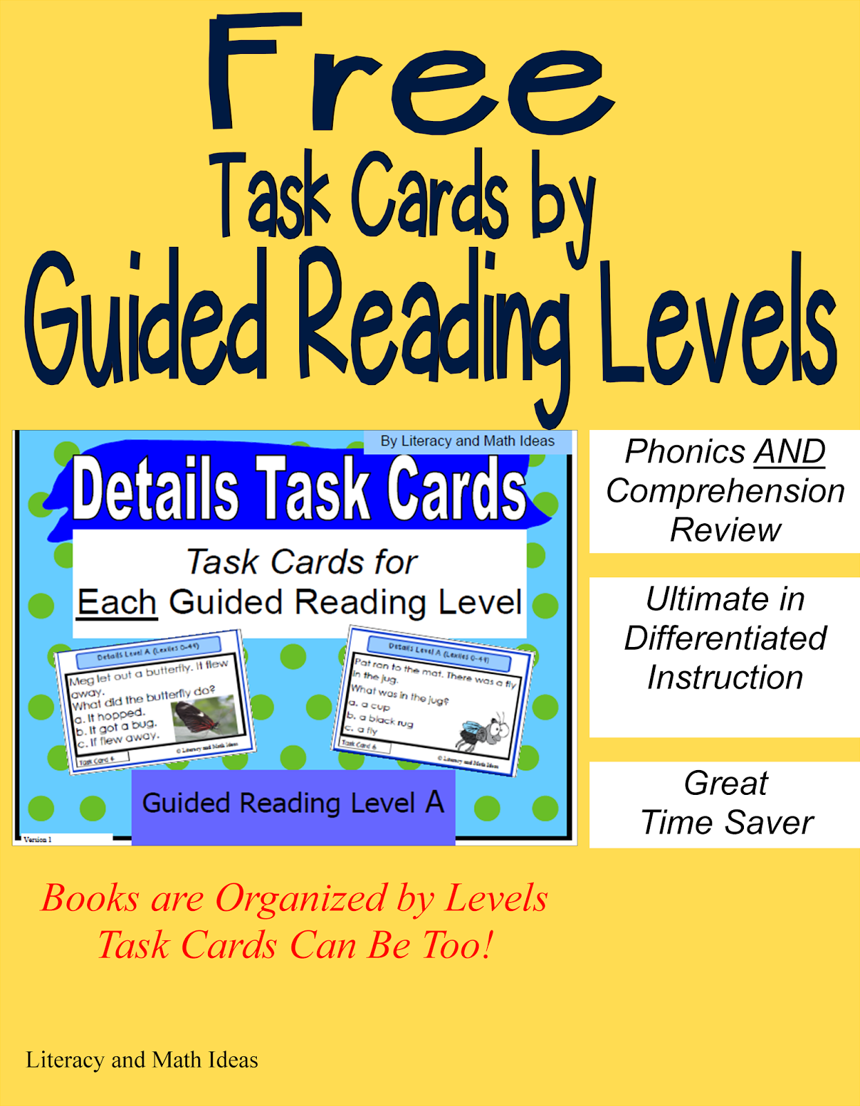 Literacy Amp Math Ideas Free Task Cards Organized By Guided Reading Levels Lexile Levels