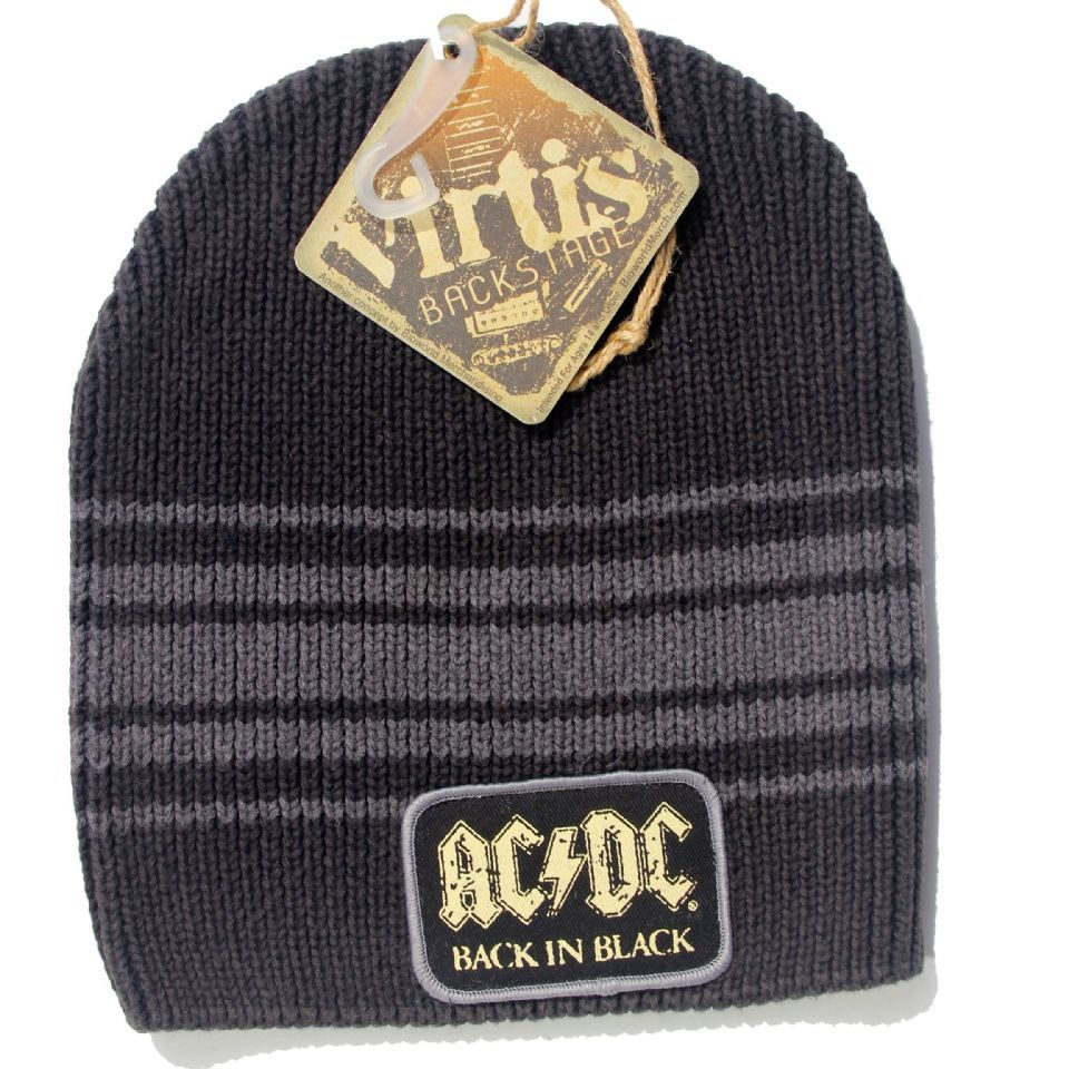 e6a32eea213 Official AC DC Beanie Hat featuring the Back In Black design printed patch  on the front Live Nation Officially Licensed Merchandise See All AC DC