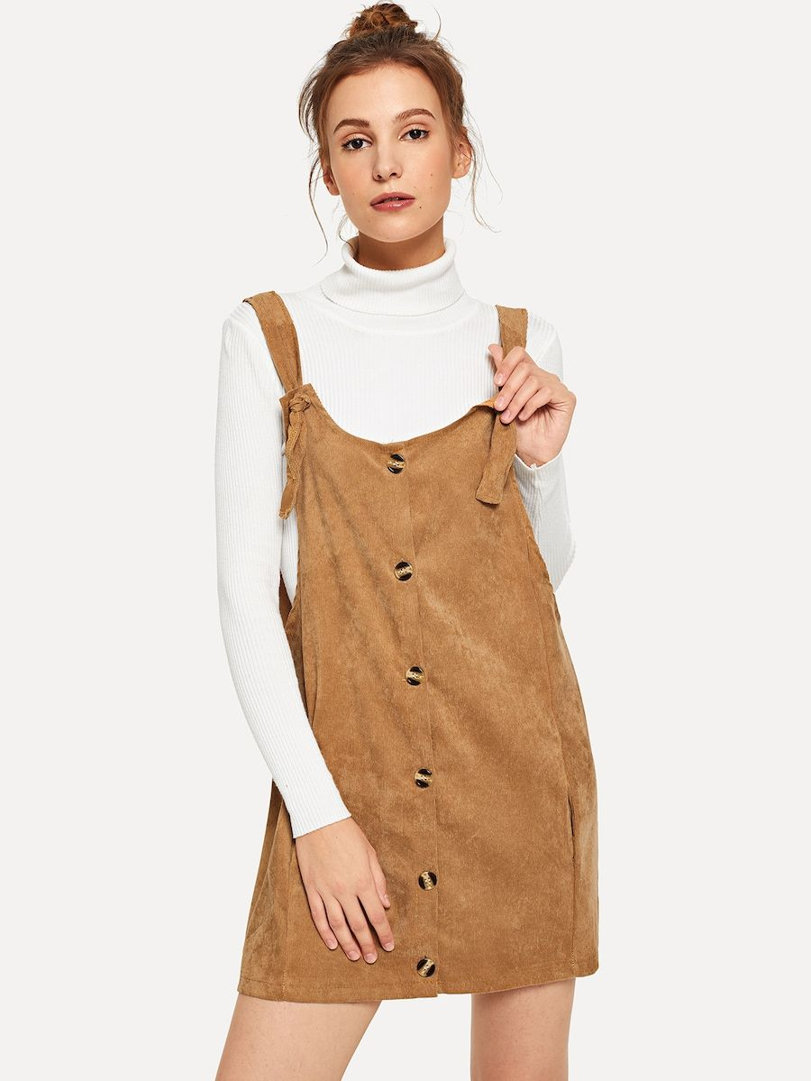 f82a1bfd39 Single Breasted Pinafore Corduroy Dress -SHEIN(SHEINSIDE) | cool ...