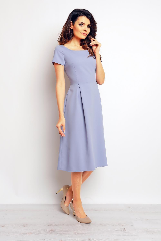 Light blue classic short sleeves midi dress light blue