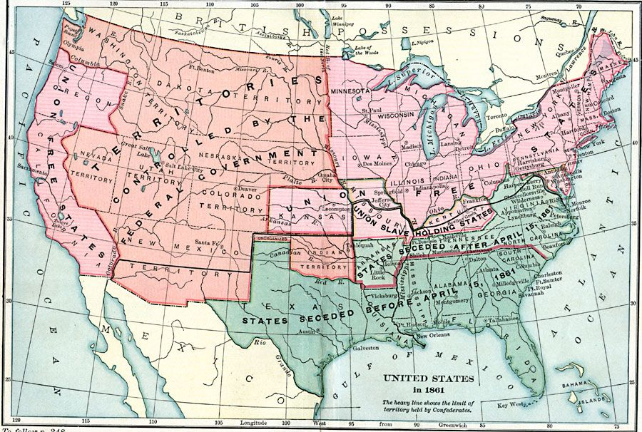 Map Of Civil War Showing Slave States And Union Post Civil War - Map of us slave states