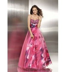 A-Line Sweetheart Satin Tulle Beading Pattern Long Prom Dress