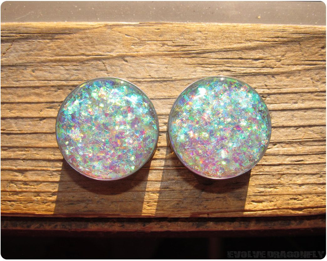 Green Purple Glitter Plugs  Gauges Iridescent 0g 00g 716 8mm 10mm 11mm Single Flared