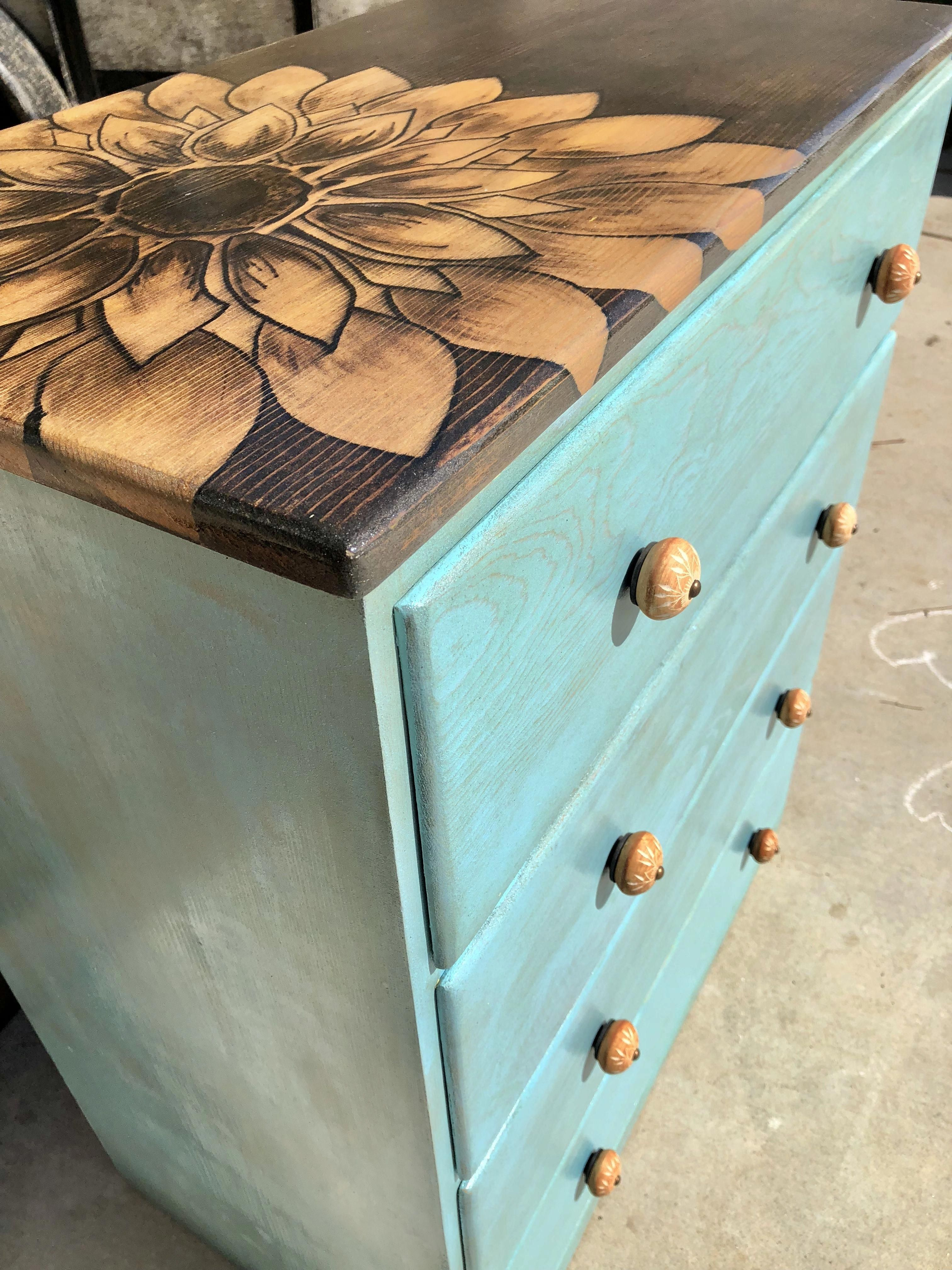 Stained Flower Top Dresser With Vintage Aqua Stain By Gypsy Mae Restore And Decor Www Facebook Com Gypsymaedecor Repurposedfurniture