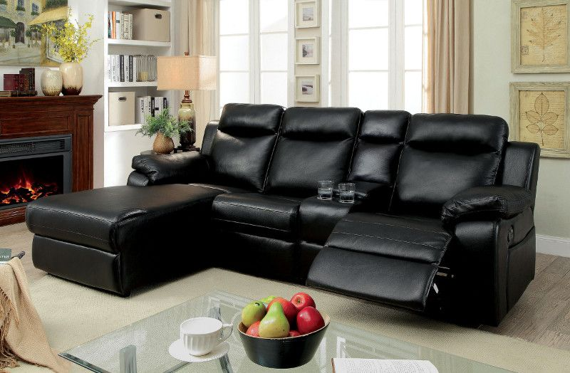 Cm6781bk 2 Pc Hardy Black Faux Leather Sectional Sofa With Chaise
