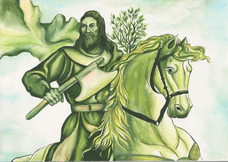 "symbolism of the green color and the theme of religion in the early english romance sir gawain and t In ""sir gawain and the green knight"", the knight who we later find out is bertilak, takes a liking to the color green he could have chosen red for strength and power or purple for royalty and wealth, but instead he chose green."