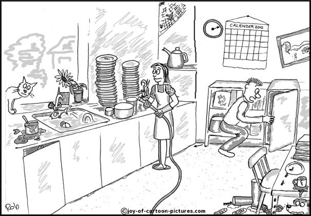 Cleaning Cartoonkitchen Cartoon Chaotic Kitchen Scene Cartoon