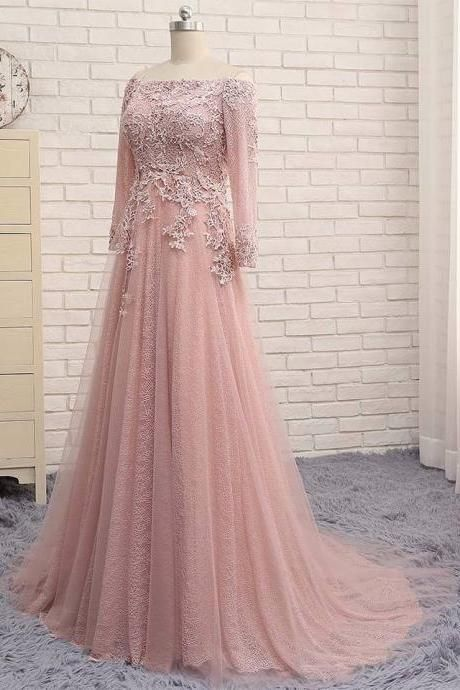 P113 Strapless Lace Full Sleeve Pink Evening Dress,Off the Shoulder ...