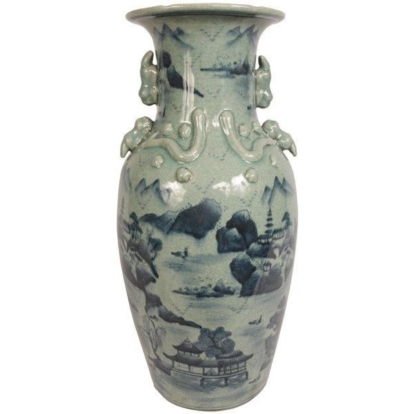 "Toulled Vase Fine Porcelain 24"" Tall Blue & White New Free shipping"