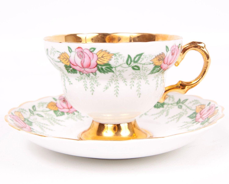 Vintage Rosina Teacup and Saucer England Fine Bone China Pink Roses Gold.
